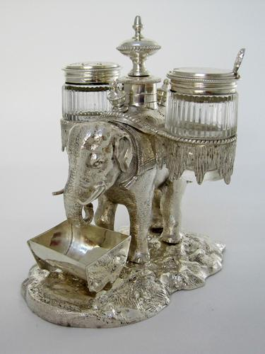 Over Size Victorian Silver Plated Elephant Cruet Set (1 of 8)
