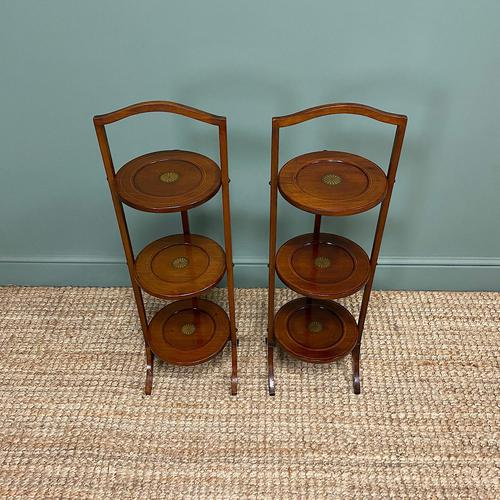 Unusual Pair of Antique Mahogany Folding Cake Stands (1 of 5)