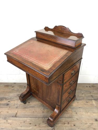 Late Victorian Inlaid Rosewood Davenport Desk (1 of 17)