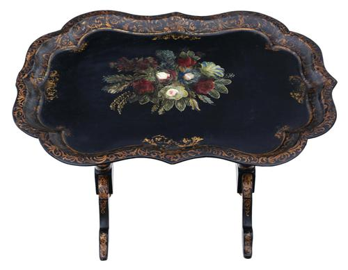 Victorian Tilt Top Decorated Black Lacquer Tray Top Coffee Table (1 of 11)
