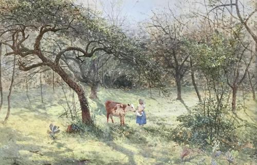S.G.William Roscoe Watercolour 'In the Orchard' (1 of 2)