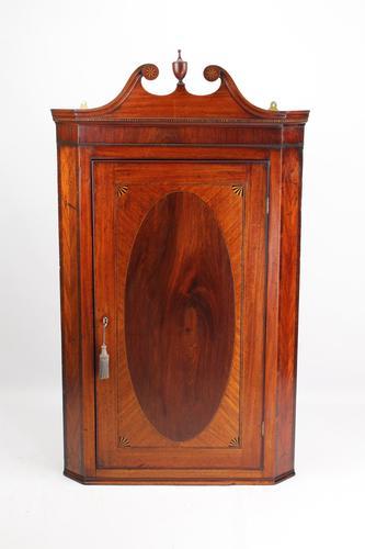 Antique Georgian Mahogany & Inlaid Corner Cupboard (1 of 13)