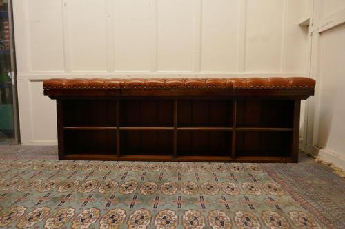 Long Mahogany Chesterfield Hall Seat Shoe Tidy (1 of 8)