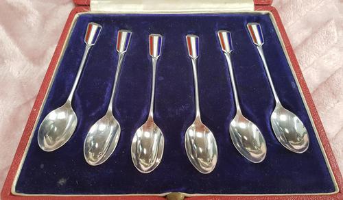 Cased Set of 6 Silver & Enamelled Tea Spoons (1 of 5)