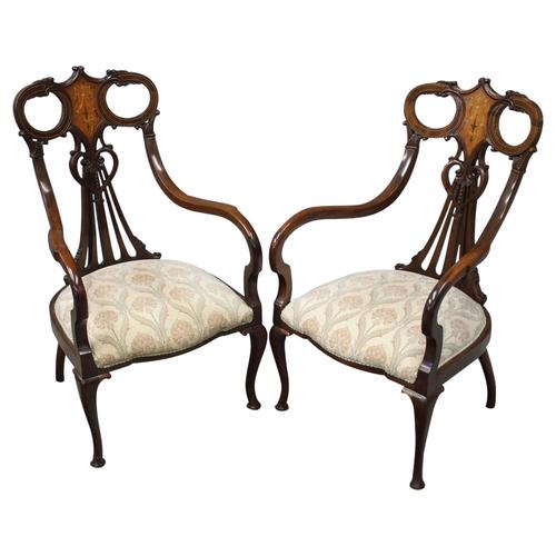 Art Nouveau Style Inlaid Mahogany Elbow Chairs (1 of 11)