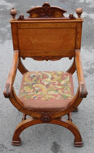 1900's Quality Walnut X Chair with Inlay & Pretty Upholstered Seat (1 of 4)