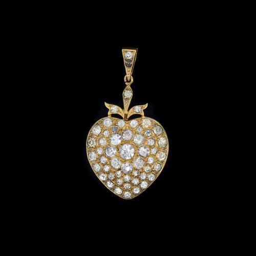 Antique Victorian Old Cut Paste Rolled Gold Heart Pendant (1 of 7)