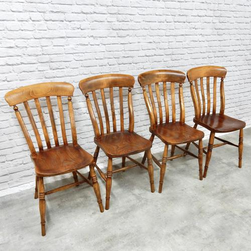 Set of 4 Lath Back Kitchen Chairs (1 of 5)