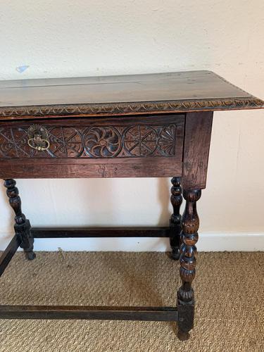 Antique Oak Side Table (1 of 6)