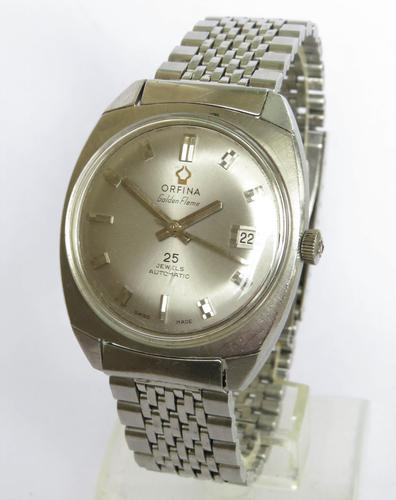 Gents 1960s Orfina Golden Flame Automatic Wrist Watch (1 of 5)