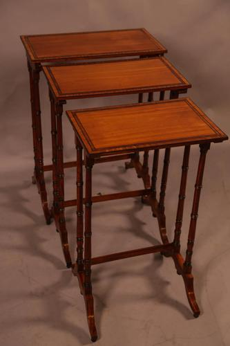 Regency Nest of Three Tables in Satinwood (1 of 8)