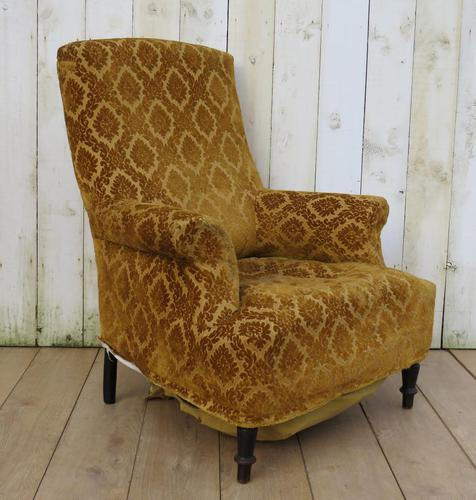 Antique Napoleon III High Back Armchair for re-upholstery (1 of 8)