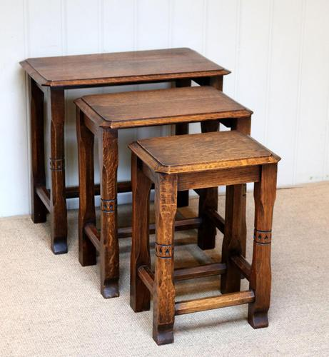 Solid Oak Nest of Three Tables (1 of 9)