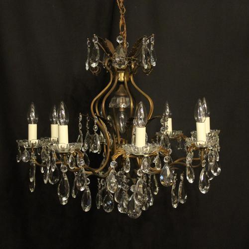 French Gilded 9 Light Birdcage Antique Chandelier (1 of 10)