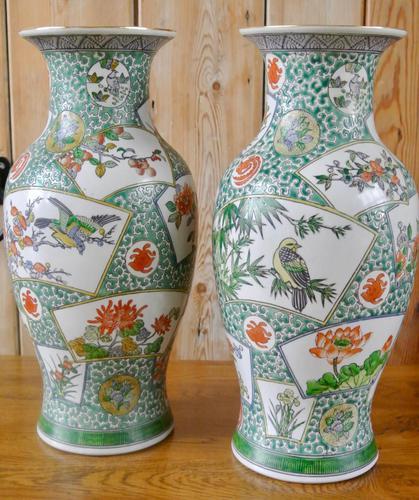 Pair of Chinese Famille Verte Vases (1 of 5)