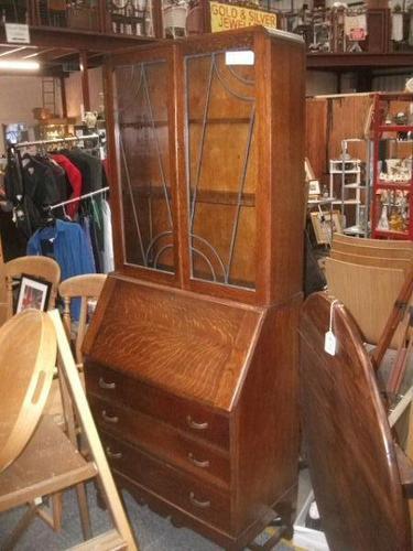 Oak Lead Glazed Bureau Bookcase (1 of 4)