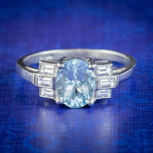 Art Deco Aquamarine Diamond Ring Platinum 1.50ct Aqua c.1930 (1 of 7)