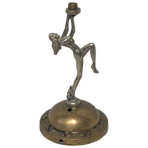 Fine Small Original Art Deco Chrome Nude Lady Table Lamp Light Base (1 of 21)