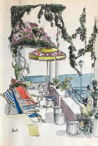 Original watercolour 'Deckchairs and Bougainvillea' by Helen Hale ROI,SWA,NS. B.1936. c.1970 (1 of 1)
