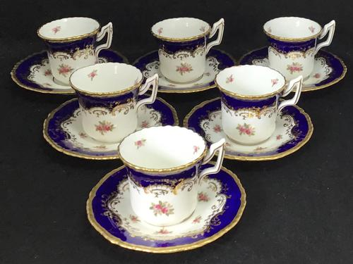 Beautiful Set of 6 Victorian Coalport Floral Decorated Coffee Cans & Saucers (1 of 7)