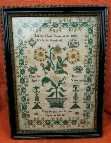 """Large Antique Needlework Sampler 1835 Mary Ann Fulcher 13yrs in Frame 14"""" x 19"""" (1 of 12)"""