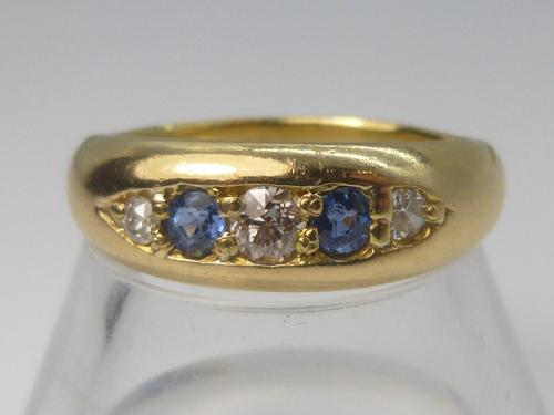 Edwardian 18ct Gold Diamond & Sapphire Ring (1 of 6)