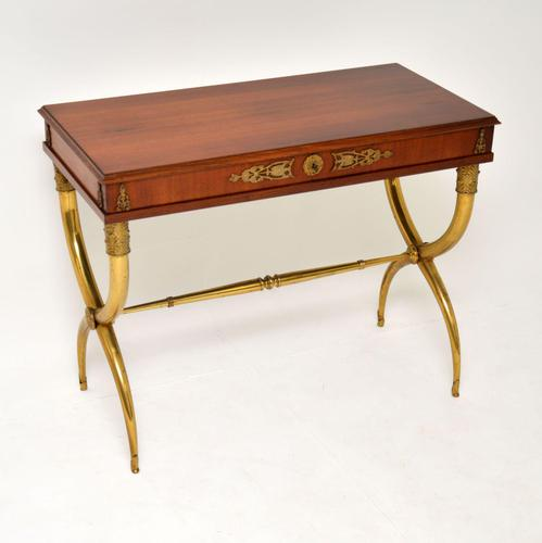 Antique Neoclassical Walnut & Brass Writing / Side Table (1 of 16)