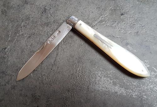 Sterling Silver & Mother of Pearl Fruit Knife (1 of 3)