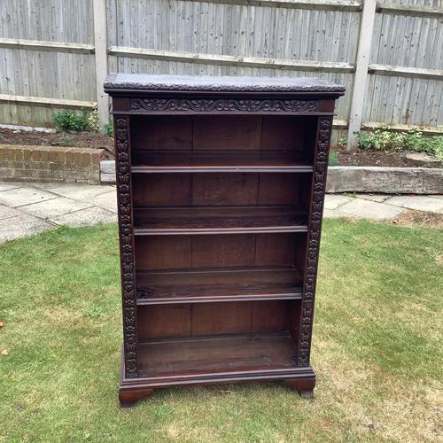 Carved Oak Open Bookcase (1 of 4)