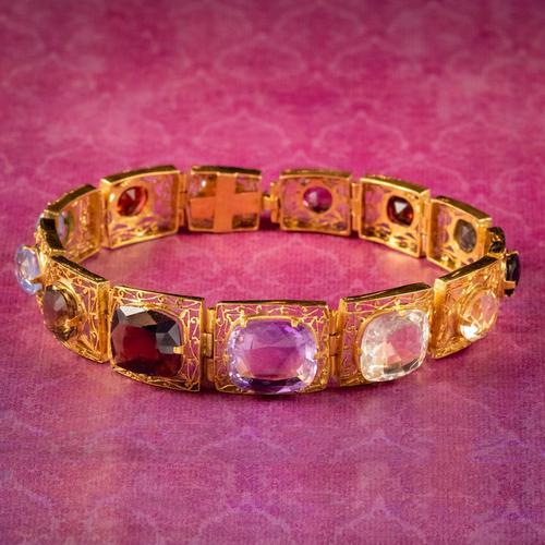 Art Deco Gemstone Bracelet Silver 18ct Gold Gilt c.1920 (1 of 8)