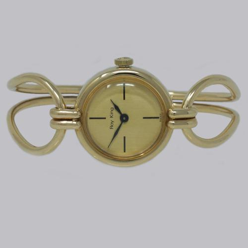 Roy King Bangle Watch 9ct Gold Vintage Woman's Immaculate 1980's Bracelet Watch (1 of 6)