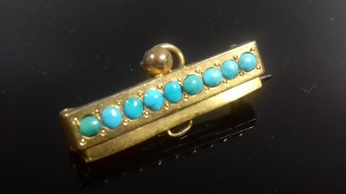 Art Deco gold plated turquoise bead pendant brooch (1 of 6)