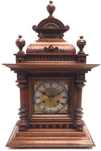German Carved-Oak 8-Day Mantel Clock by Junghans (1 of 13)