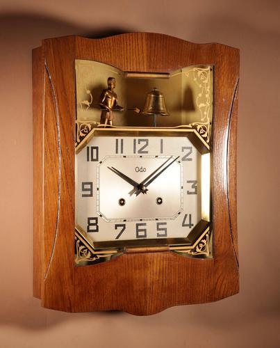 French Oak Signed Odo Automaton Striking Wall Clock (1 of 6)