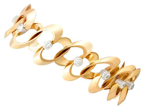 1.20ct Diamond & 18ct Yellow Gold Bracelet - Vintage French c.1950 (1 of 9)