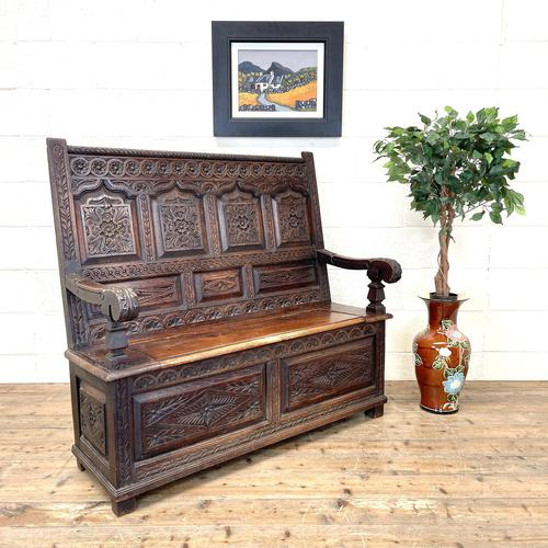 Antique 19th Century Carved Oak Settle (1 of 10)