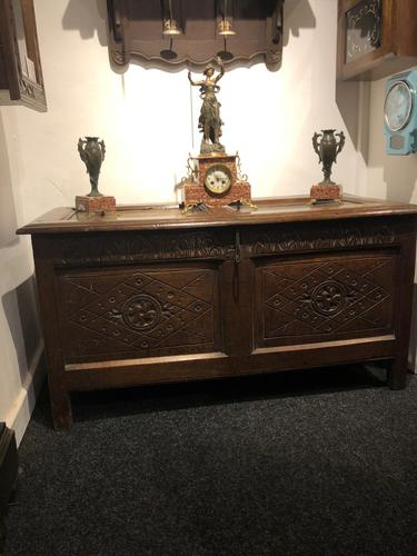 Carved Antique Coffer, English Oak Joined Chest, Trunk, c.1700 (1 of 8)