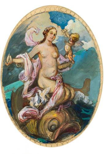 Exclusive Russian Symbolism Painting from Private Collection. #1 Female with a Fish (1 of 5)