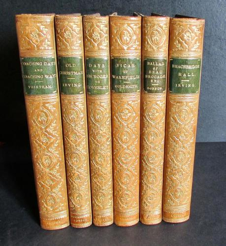 1892 Collection of Zaehnsdorf Leather Books Washington Irving + Oliver Goldsmith (1 of 5)