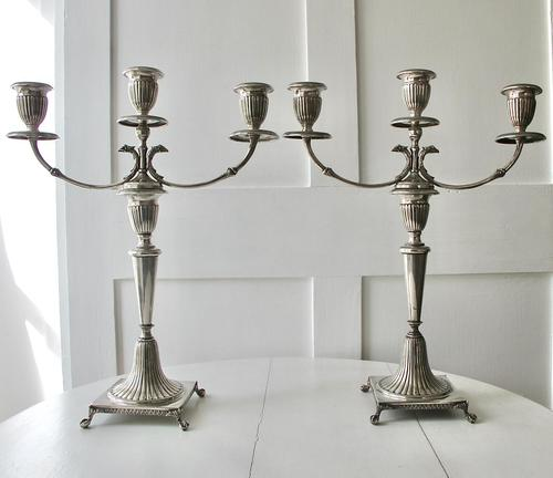 Italian Pair of Silver Neo-classical Design Three-light Table Candelabra, Florence c.1945 (1 of 13)