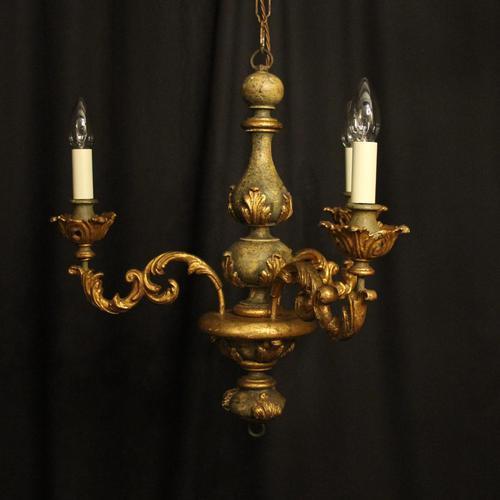 Florentine Gilded Triple Light Polychrome Chandelier (1 of 10)