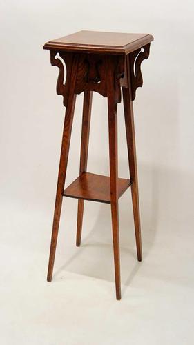 Art Nouveau Two Tier Oak Pedestal or Plant  Stand (1 of 13)