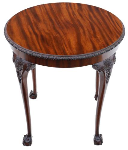 Carved Mahogany Circular Table Occasional Side Centre Window c.1910 (1 of 6)