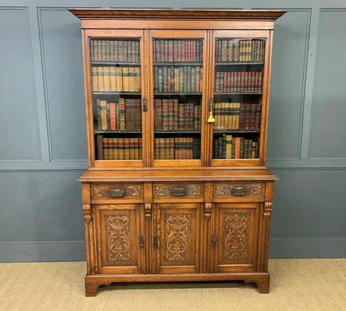 Victorian Carved Oak 3 Door Bookcase (1 of 23)