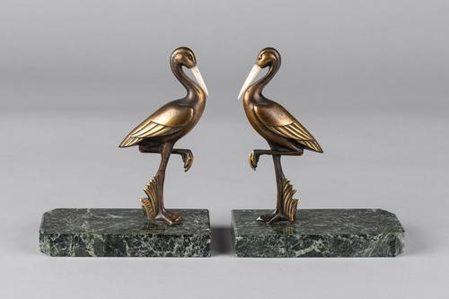 Pair of French Art Deco Bronze Stork Bookends, signed GUAL (1 of 7)