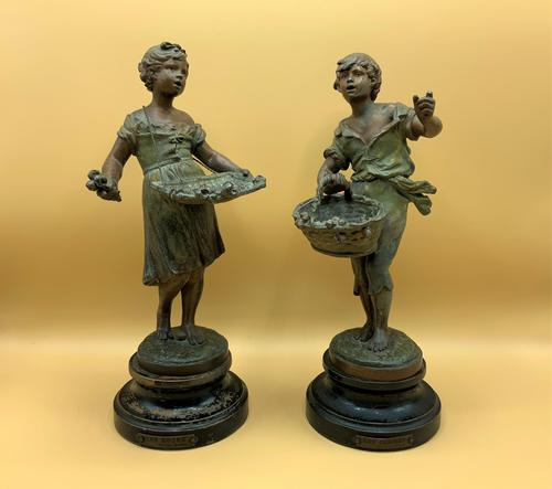Fab Pair of 19th Century French Bronzed Spelter Statues Figurines Flower & Cherry Sellers (1 of 11)