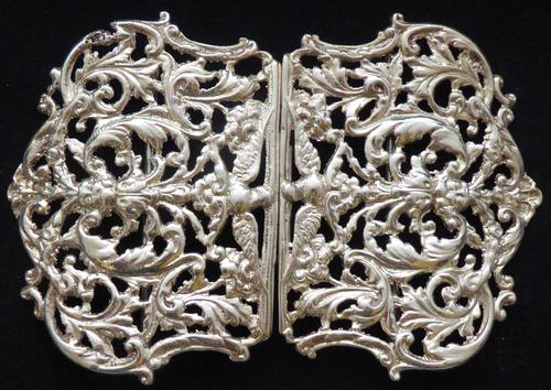 Large Victorian 1897 Hallmarked Solid Silver Nurses Belt Buckle (1 of 7)