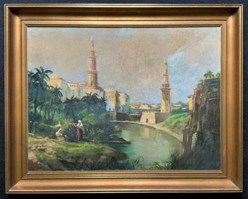 Large Early 1900s North African Cityscape with Mosque Oil Painting on Canvas (1 of 15)