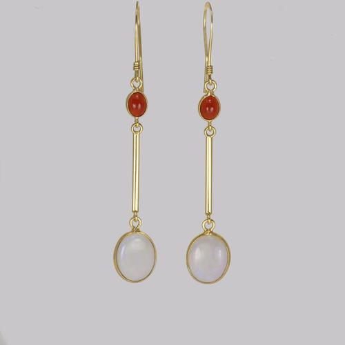 Opal Dangle Earrings 18ct Gold Opal & Fire Opal Drop Earrings Vintage Earrings (1 of 4)