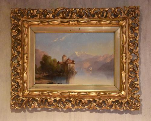 Alpine scene oil painting with castle by a lake (1 of 6)